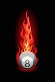 Vector illustration of a billiard ball in fire. Vector illustration of a 'Eight' billiard ball in fire on black background stock illustration