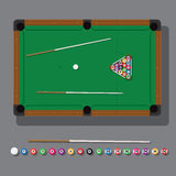 Vector illustration of a billiard table with green cloth, balls and cue top view Stock Images