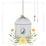Vector illustration of a bird cage with flower wreaths Royalty Free Stock Photos