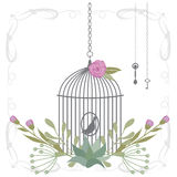 Vector illustration of a bird cage with flower wreaths Royalty Free Stock Image