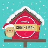 Vector illustration. Bird in the cap of Santa Claus. Congratulations. Vector illustration. Bird in the cap of Santa Claus. Perfect for decorating a greeting Stock Photography