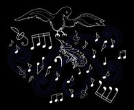 Vector illustration with the bird, feathers and musical notes Royalty Free Stock Photo