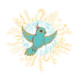 Vector illustration of bird inside floral wreath Stock Images