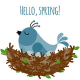 Vector illustration with bird on the nest. In flat style. Text Hello spring Stock Photo