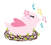Vector illustration bird singing Royalty Free Stock Image