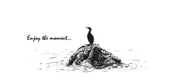 Vector illustration of a bird sitting on a stone in the sea, a sketch made by hand vector illustration