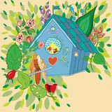 Vector illustration of the birds in birdhouse Royalty Free Stock Image