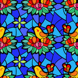 Vector illustration with birds and flowers. Stock Photos