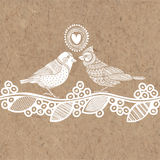 Vector illustration with birds and heart on kraft paper. It may be greeting card for Valentine`s Day, wedding invitations or desig