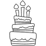 Vector illustration of birthday cake. Colored and black and white outlined versions Royalty Free Stock Image