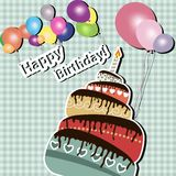 Vector illustration of Birthday card with cake Royalty Free Stock Photo