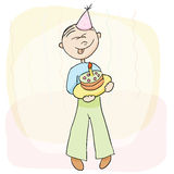 Vector illustration. Birthday celebration with cake. Stock Image