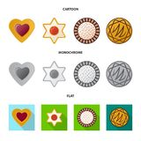 Vector illustration of biscuit and bake icon. Set of biscuit and chocolate vector icon for stock. Isolated object of biscuit and bake symbol. Collection of royalty free illustration