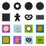 Vector illustration of biscuit and bake symbol. Collection of biscuit and chocolate stock symbol for web. Isolated object of biscuit and bake sign. Set of royalty free illustration
