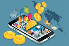 Bitcoin Cryptocurrency Shopping Conceptual Illustration Stock Images