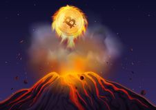 Vector illustration of bitcoin in fire flying out of volcano at night. Bitcoin volcano explosion. Vector illustration of bitcoin in fire flying out of volcano Royalty Free Stock Images
