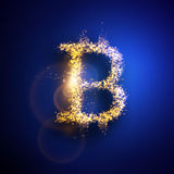 Vector illustration of Bitcoin. Light particles composition. Vector illustration of Bitcoin. Light particles composition Royalty Free Stock Photo