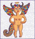 Vector illustration of bizarre creature, nude woman with wings, Stock Photography