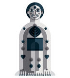 Vector illustration of bizarre modernistic avatar, cubism theme. Picture. Grayscale drawing of spiritual totem, fantastic shaman isolated on white royalty free illustration