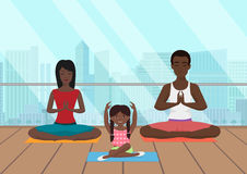Vector illustration of the black african family meditating in fitness room on the modern city background. Vector illustration of the black african family Stock Images