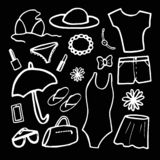 Vector illustration on black background. Fashion set of woman`s summer clothes and accessories. Black and white royalty free illustration
