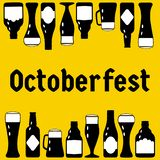 Vector illustration with black beer bottles and glasses up and down of the picture and text `October fest` vector illustration