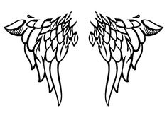 Tattoo or body-art style wings on white. Vector. Vector illustration of black bird`s or angel`s wings made in tattoo or body-art style on white vector illustration