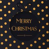 Vector illustration of black circle with Merry Christmas words on golden chrome polka dot. Background. Luxury rich background Royalty Free Stock Images
