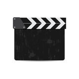 Vector illustration of black film clapper isolated on white. EPS Royalty Free Stock Photo