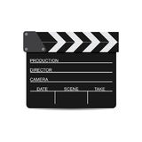 Vector illustration of black film clapper isolated on white. EPS Royalty Free Stock Photography