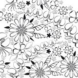 Vector illustration of black floral pattern Stock Photography