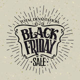 Vector illustration Black Friday and light rays Stock Photos