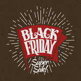 Vector illustration Black Friday and light rays Royalty Free Stock Photos
