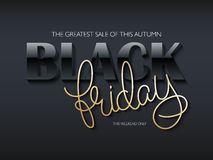 Vector illustration of black friday poster with black 3d and golden hand lettering text Stock Photos