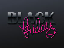 Vector illustration of black friday poster with 3d and hand lettering text Royalty Free Stock Photos