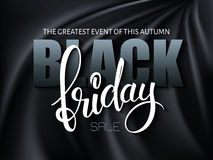 Vector illustration of black friday poster with 3d and hand lettering text on black silk background Royalty Free Stock Photos