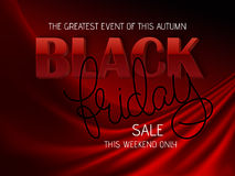 Vector illustration of black friday poster with 3d and hand lettering text on red silk background Stock Photos