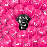 Vector illustration. Black Friday. Realistic pink Stock Photography
