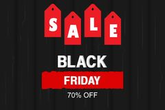 Vector Illustration. Black Friday Sale banner with price tag and wood texture background stock illustration