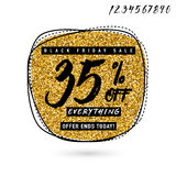 Vector illustration of Black Friday Sale with Discount 35. Glitter round shape background with typography sign. Stylish Black Friday golden template for poster Royalty Free Stock Image
