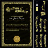 Vector illustration of black and gold certificate. Royalty Free Stock Photos
