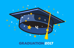 Vector illustration of a black graduate cap with confetti on a b. Lue background. Congratulation graduates 2017 class of graduations. Design of greeting, banner Royalty Free Illustration