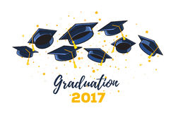 Vector illustration of black graduate caps and yellow confetti o. N a white background. Congratulation graduates 2017 class of graduations. Caps thrown up Royalty Free Illustration