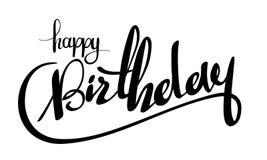 Vector illustration: Black Handwritten lettering Happy Birthday isolated on white background. Calligraphy.  Stock Photo