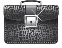 Vector illustration of a black leather briefcase. Black leather business briefcase isolated on white background royalty free illustration