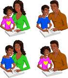 Vector illustration of black parents doing homework with their kids. A set of vector illustrations of black parents with their kids doing their homework Royalty Free Stock Image