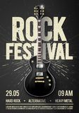 Vector illustration black rock festival concert party flyer or poster design template with guitar, place for text and cool effects. In the background Stock Image