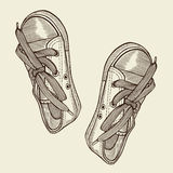 Vector illustration black sports sneakers Stock Photo