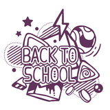Vector illustration of black and white back to school quote Stock Photography