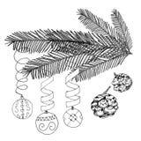 Vector illustration black on white. Christmas decorated fir tree.. Vector illustration black on white background. Christmas decorated fir tree. Christmas balls Stock Images